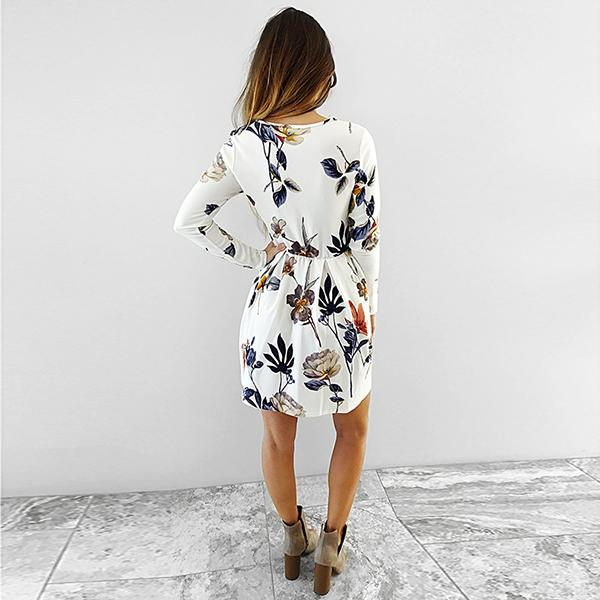 Elegant Round Neck Long Sleeve Flower Print Short Dress Vicky - White