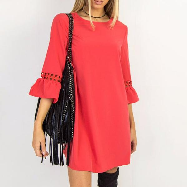 Three Quarter Bell Sleeve Round Neck Knitted Details Casual Dress Gillian