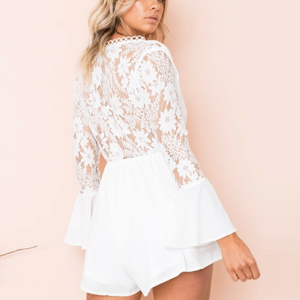 Elegant Lace Back Long Bell Sleeve Front Knot Cut Out Short Romper Serena