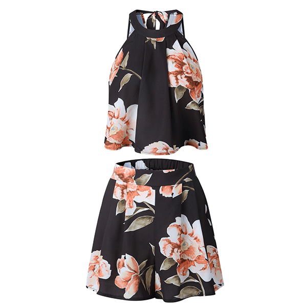 High Neck Sleeveless Back Knot Loose Floral Two Piece Eliz
