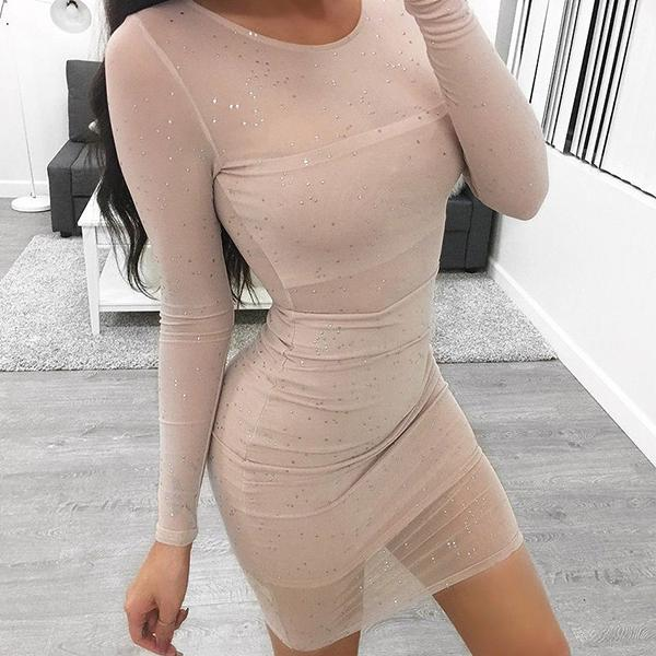 Strass Transparent Bodycon Long Sleeve Round Neck Dress Karin