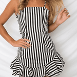 Cute Spaghetti Strap Double Back Knot Ruffle Short Dress Emma