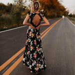 Short Sleeves Backless High-Low Maxi Dress Alicia