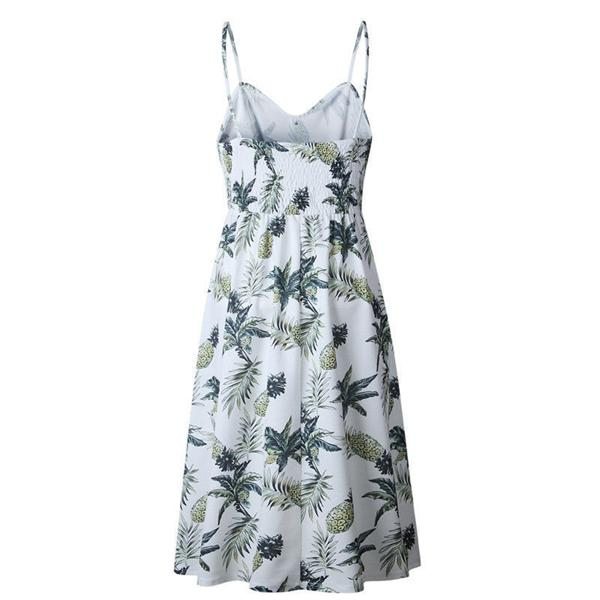 Button Up Spaghetti Strap Pineapple Print Dress