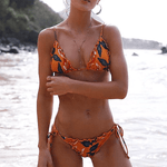 Spaghetti Strap Ruffle Triangle Bikini - Orange
