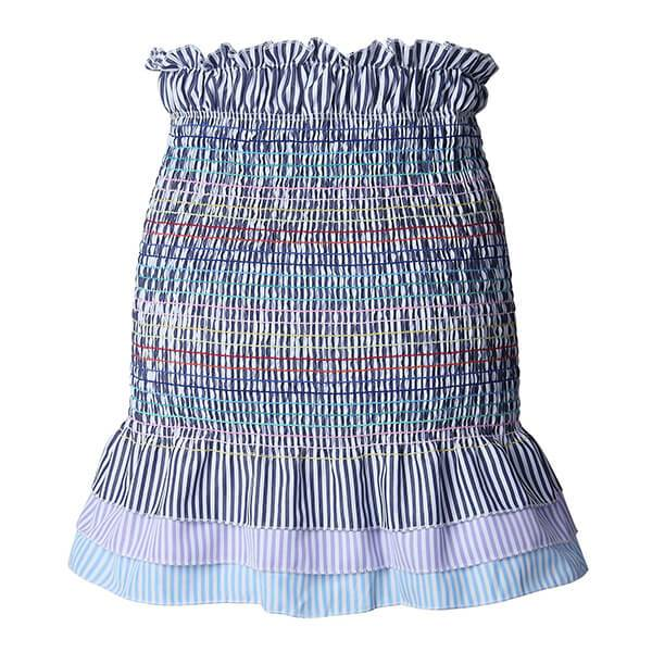 High Waisted Straped Rainbow Smocked Ruffle Skirt Livia