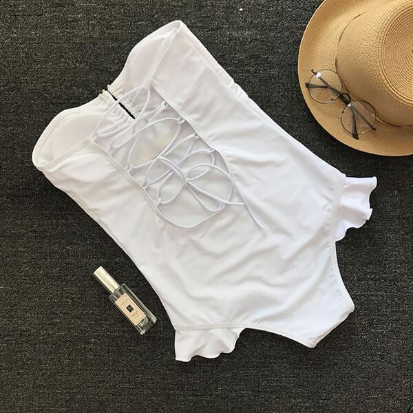 Lace Up Off Shoulder Ruffle Bandeau Swimsuit Jenelle - White