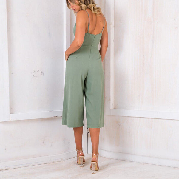 Cut Out Wide Leg Spaghetti Strap Jumpsuit Tracy