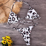 Cross Lace Leopard Triangle Bikini Gabriela - White