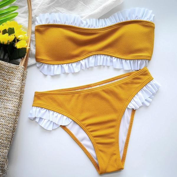 Off Shoulder High waist Ruffle Bandeau Bikini