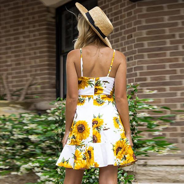 Front Knot Cut Out Sunflower Print Dress Sarah - White