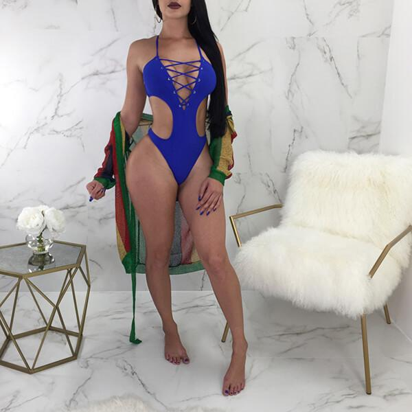 Crisscross Lace Plunging Neck Cut Out Swimsuit Heiana