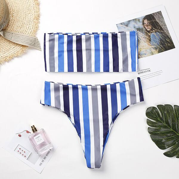 Off Shoulder High Leg Stripes Bandeau Bikini Indy