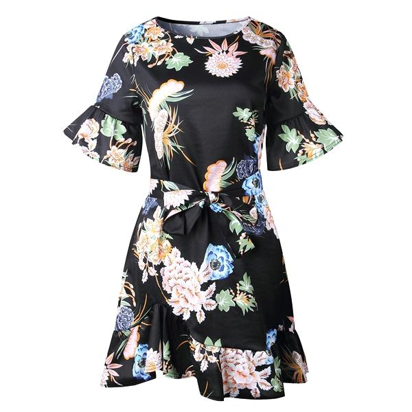 Round Neck Half Ruffle Sleeve Belted Asymetric Flower Print Dress Shanna