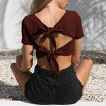 V Neck Short Sleeve Double Back Knot Crop Top Irini