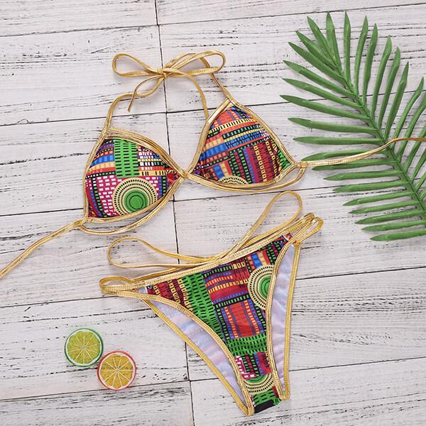 Golden Knitted Double Lace Colorful Bikini Gaia