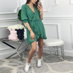 Half Sleeve Spotted Ruffle Wrap Dress Aurora