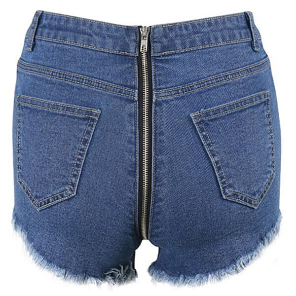 Sexy Back Zip Destroyed Jean Shorts Natalia - Blue