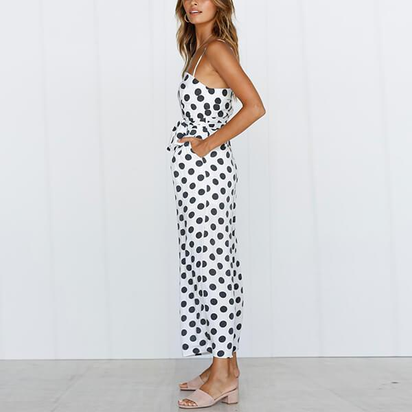 Spagetti Strap Wide Leg Belted Spotted Jumpsuit Delilah