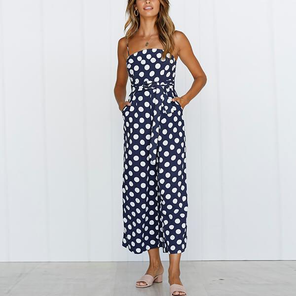 Spagetti Strap Wide Leg Spotted Jumpsuit Delilah