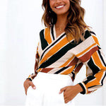 Crossover Colorful Stripes Long Sleeve Blouse Nicole