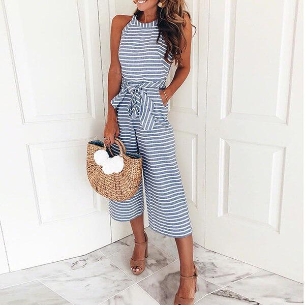 Striped Sleeveless Round Neck Wide Leg Belted Jumpsuit Kiran