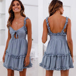 Front Knot Ruffle Cut Out Dress Gleny