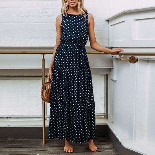 Round Nck Sleeveless Elegant Peas Long Dress - Dark Blue