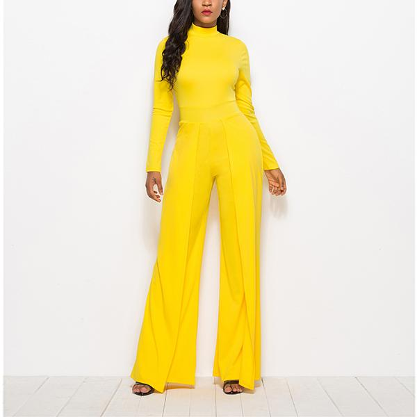 High Neck Long Sleeve Wide Leg Bodycon Jumpsuit Lucinda