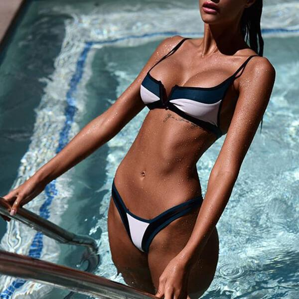 Sexy Cut Out High Leg Spaghetti Strap Stripe Bikini Paora - Blue