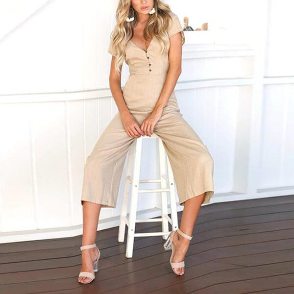 Casual Button Up Low Back Pocket Jumpsuit Paulina