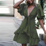 Front Knot Plunge Neck Layered Ruffle Dress Jeanne