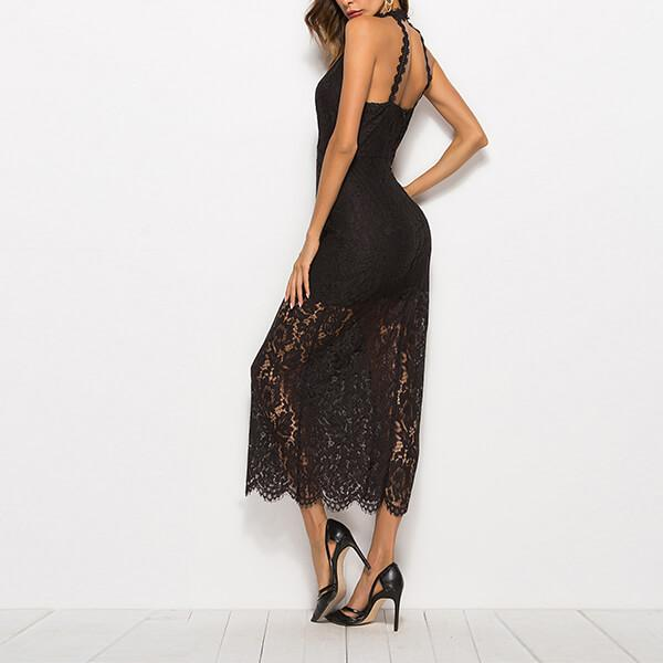 Chic Plunge Neck Indent Strap See Through Lace Long Dress Ivory - Black