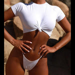 Twisted Knot Round Neck T Shirt Style High Leg Thong Bikini Maddi
