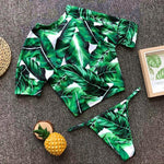 Sexy T Shirt Style High Leg Palm Leaves Print Bikini Elyosa - Green