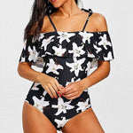 Elegant Off Shoulder Flower Print Ruffle Swimsuit Valeska - Black