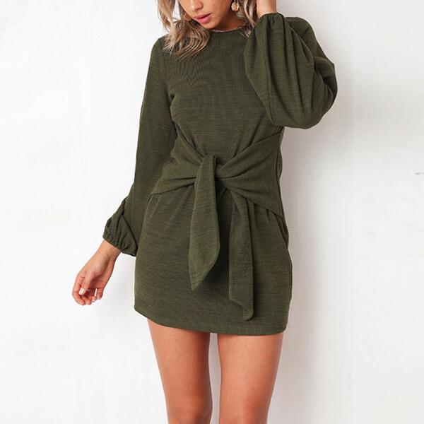 Wide Sleeve Round Neck Front Knot Sweater Dress Louise