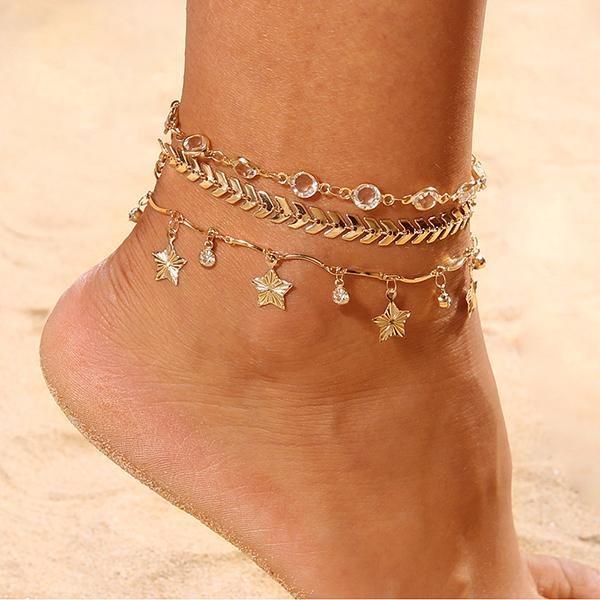 Stars Ankle Chain - Golden