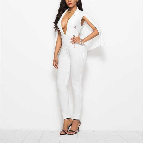 Elegant Bodycon Plunge Neck Cape Jumpsuit Naomi