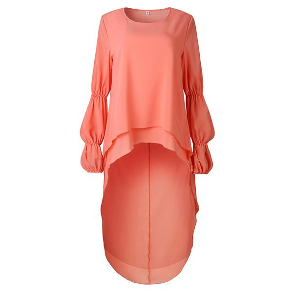 Low-High Lantern Sleeve Round Neck Blouse Suzie