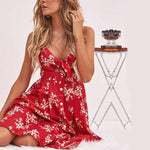 Cute Sleeveless Spaghetti Strap Cut Out Front Bow Knot Flower Print Dress Rachael - Red