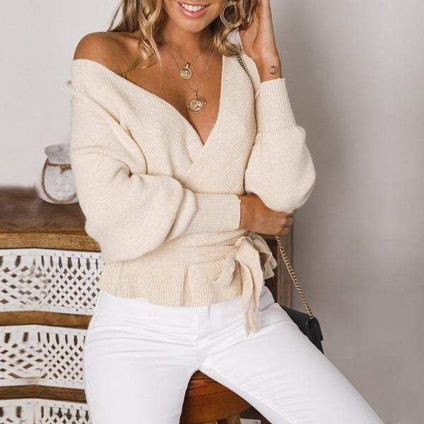 Crisscross Backless Long Sleeve Belted Top Tilly - Beige
