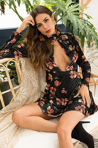 Sexy Plunging Neck Backless Long Sleeve Floral Short Dress Maud