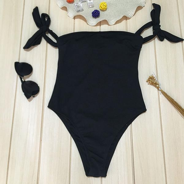 Ribbed Off Shoulder High Leg Swimsuit Hallie - Black