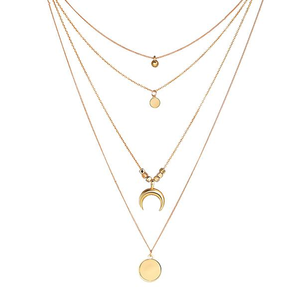 Multiple Rows Moon Necklace Sienna - Golden