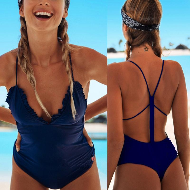 Sexy Back Plunging Neck Ruffle Bikini Ruth