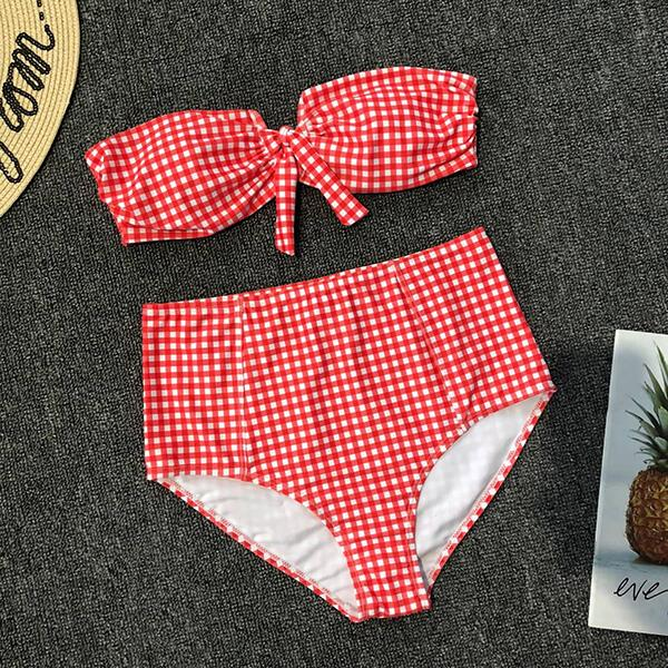 V Wire Bandeau Top High Waist Gingham Pattern Bikini Luisa