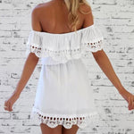 Lace Details Off Shoulder Ruffle Short Summer Dress Olivia - White