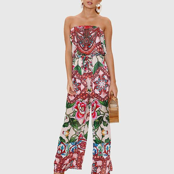Sleeveless Chic Prints Wide Leg Bustier Jumpsuit Neta