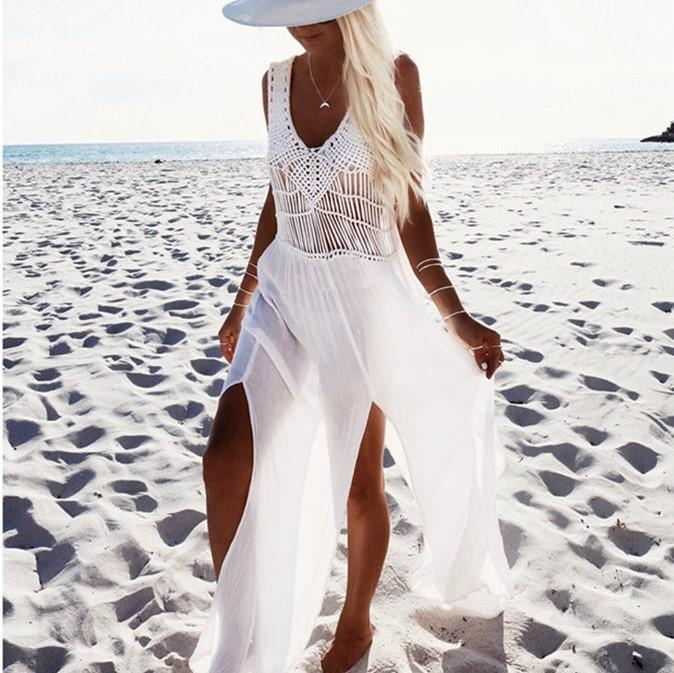 sports shoes pre order unbeatable price Knitted Cut Out Long Boho Beach Dress - White